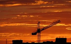Wallpaper crane, Construction, sunset