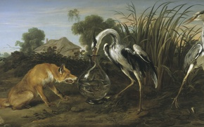 Picture tale, Fox, painting, Art, crane, the Golden age