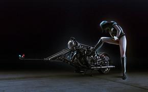 Wallpaper girl, figure, police, motorcycle