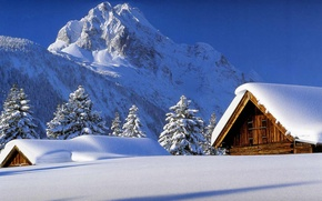 Picture the sky, snow, trees, Mountains, houses