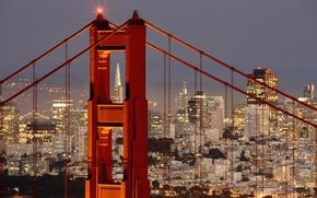 Picture city, lights, Golden Gate Bridge, landscape, bridge, sunset, panorama, night, evening, San Francisco, buildings, skyscrapers, …