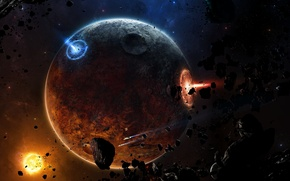 Picture fire, planet, spaceships, Sci Fi, meteorites, astroides