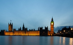 Picture night, bridge, city, the city, lights, lights, river, England, London, building, lighting, lights, UK, Thames, …