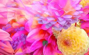 Wallpaper Bud, petals, rendering, paint, line