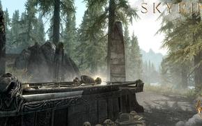 Picture forest, mountains, bones, skeleton, the sarcophagus, headstone, Skyrim, The Elder Scrolls V