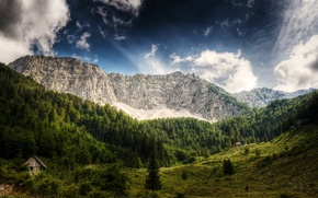 Wallpaper forest, the sky, clouds, trees, mountains, Austria, wooden, house, blue, Austria