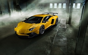 Picture machine, yellow, Lamborghini, supercar, front view, handsome, Aventador, Lamborghini, Novitec, Torado, LP 750-4