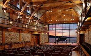 Picture design, style, interior, piano, chairs, concert hall