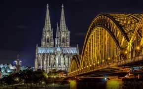 Picture night, bridge, lights, Germany, Cathedral, Cologne