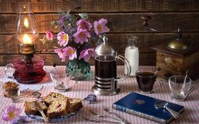 Wallpaper flowers, lamp, coffee, milk, book, still life, cupcake, raisins, anemones, coffee grinder