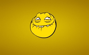 Wallpaper minimalism, trollface, The face of a Troll, smile, Trollface, yellow