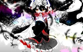 Picture girl, flowers, anime, art, form, vocaloid, hatsune miku