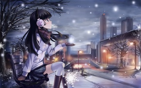 Picture GIRL, SNOW, STREET, LIGHTS, SHOP, ore no imouto ga konnani kawaii wake ga nai, gokou …