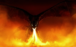 Picture fiction, dragon, wings, art, mouth, fire-breathing