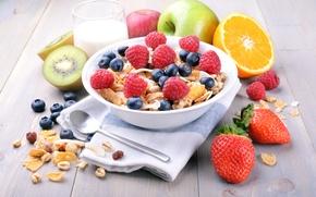 Picture berries, raspberry, Breakfast, milk, blueberries, strawberry, fruit, cereals, fresh, berries, breakfast, muesli, muesli, healthy