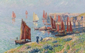 Picture sea, the sky, landscape, people, rocks, picture, boats, sail, Henri Moret, Returning of the Boats