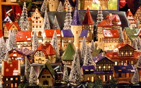 Picture winter, snow, Windows, new year, roof, village, tower, houses, layout, Winter, model, miniature, village