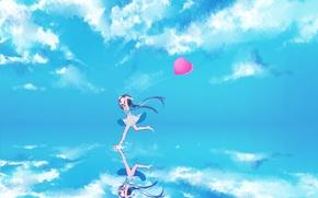 Picture the sky, water, girl, clouds, joy, reflection, ball, art, vocaloid, hatsune miku, heart, Vocaloid, gotoh510