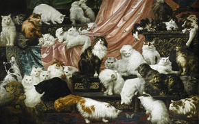 """Picture cats, picture, painting, Carl Kahler, 42 cat, """"the Lovers of my wife"""", 1891"""