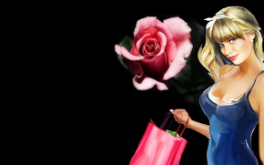 Picture Beauty, The dark background, rose., Most