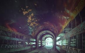 Picture the city, reflection, street, wall, graffiti, yard, arch, urban