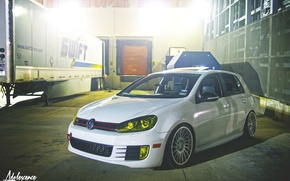 Picture volkswagen, white, wheels, golf, tuning, gti, germany, low, r32, stance, mk6