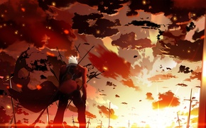 Picture the sky, clouds, sunset, weapons, anime, art, guy, skyt2, fate/stay night, archer