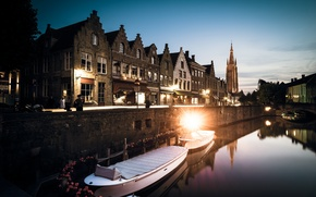Picture West-Flanders, the evening, twilight, Belgium, Bruges