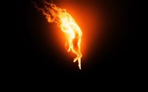 Wallpaper girl, Black, fire