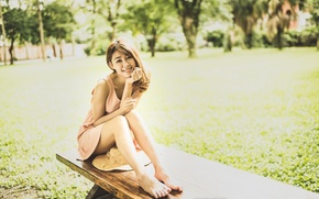 Wallpaper summer, girl, Asian, bench