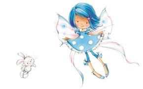Picture holiday, art, girl, Bunny, children's, Marina Fedotova, fairy