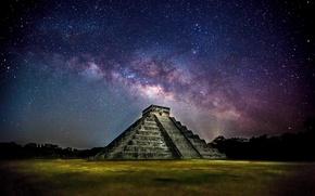 Picture the sky, stars, night, the city, Mexico, pyramid, photographer, the milky way, Ryan Smith, Kukulkan, …