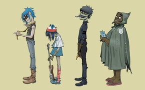 Picture music, background, group, Russel, gorillaz, readers., noodle, Russell, Plastic Beach, Gorillaz, noodle, Murdoch