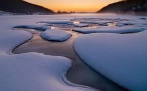 Wallpaper fog, snow, Winter, stream