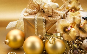 Picture decoration, balls, New Year, Christmas, gold, Christmas, gold, decoration, Merry