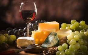 Picture wine, red, cheese, grapes, nuts, different, varieties