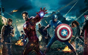 Picture night, the city, fire, helicopter, Scarlett Johansson, shield, iron man, Hulk, Thor, captain America, Robert ...