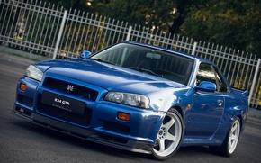 Picture GTR, Nissan, white, wheels, Blue, Skyline, R34, V-SPEC