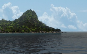 Picture sea, clouds, trees, stones, island, hill, art