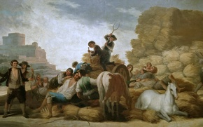 Picture picture, genre, Summer, horse, Francisco Goya, people