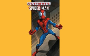 Picture roof, yellow background, superhero, comic, Marvel Comics, Spider-Man, Peter Parker, Peter Parker, Spider-Man, Marvel