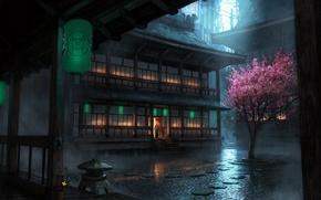 Wallpaper tree, The Secret World, rain