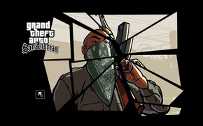 Picture Gun, Logo, GTA, AK-47, Game, Weapon, Man, Rockstar Games, Mob, Gangster, Grand Theft Auto. San …