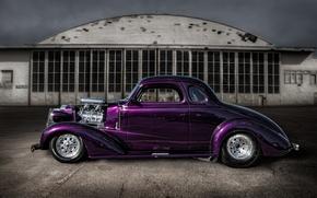 Picture purple, retro, street, classic, hot-rod, classic car