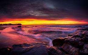 Picture sunrise, stones, shore, Australia, Newcastle, New South Wales