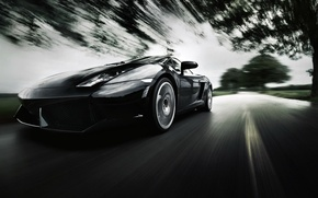 Picture road, background, speed, blur, supercar, Lamborghini Gallardo