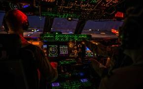 Wallpaper aviation, night, technique, cabin, the plane, Galaxy, military transport, Lockheed C-5M, Galaxy