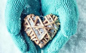 Picture winter, snow, love, heart, hands, love, heart, winter, mittens, snow, hands
