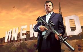 Picture the plane, people, machine, Grand Theft Auto V, GTA V, Los Santos, gta 5, Vinewood