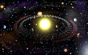 Picture the sun, planet, stars, system, kosmo
